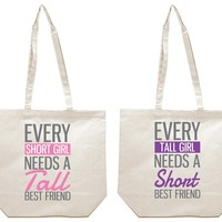 Every Short and Tall Best Friends Girl BFFS Canvas Tote Bag