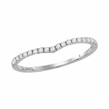 10kt White Gold Women's Round Diamond Slender Chevron Stackable Band Ring 1-3 Cttw - FREE Shipping (US/CAN)