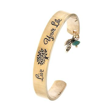 Live Your Life Etched Cuff Bracelet