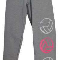 3 - Volleyballs in Pink and White - Gray Sweatpants