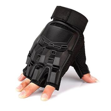 Outdoor Mens Leather Driving Gloves Military Tactical Half Finger Gloves Airsoft Hunting Bicycle Protection