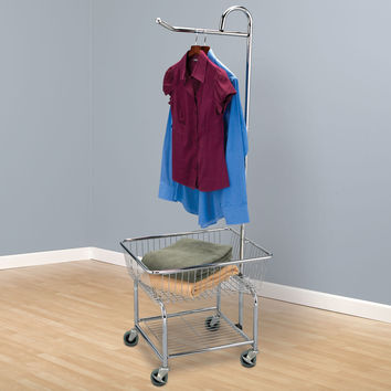 Household Essentials Rolling Laundry Butler Clothes Hanger Rack Chrome Finish