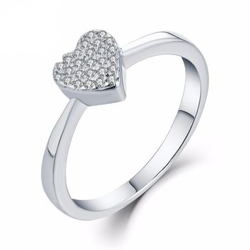 Women's Sterling Silver Ring with Heart Center