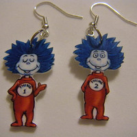 Thing 1 and Thing 2 Earrings Dr Seuss Cat in by CREATEHAPPINESS