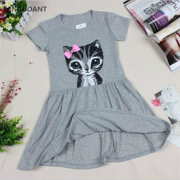 cat print grey baby girl dress
