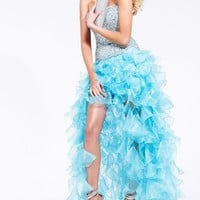 SHERRI HILL 2463 Fully Sequined Bodice Over Cascading Ruffles Prom Dress