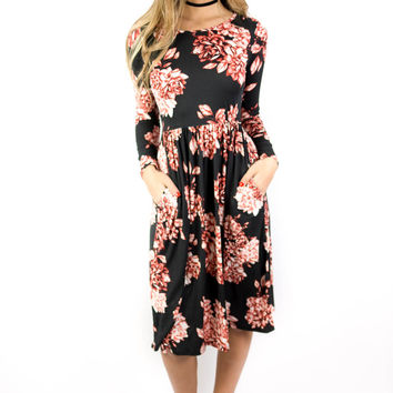Britton Empire Black And Burgundy Floral Dress