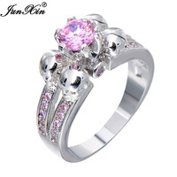 JUNXIN Cute Pink Skull Ring Vintage Wedding Rings For Women Fashion White Gold Filled Jewelry Bague Femme Anies RW1220