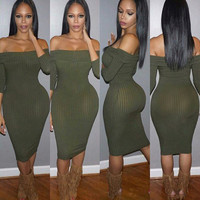 Army Green Strapless Bodycon Mini Dress