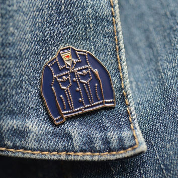 Blue Denim Jacket Enamel Pin