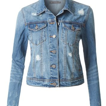 LE3NO Womens Distressed Ripped Long Sleeve Cropped Denim Jean Jacket