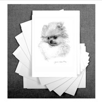 "Set of 6- Pomeranian Puppy, 5""x 7"" Blank Note Card/w envelope by Jennie Truitt"