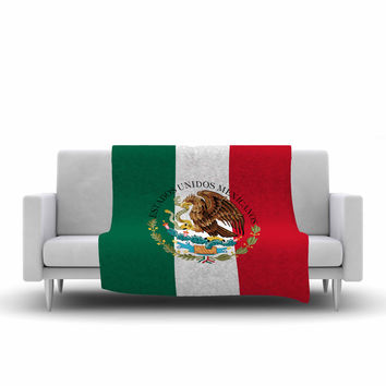 """Bruce Stanfield """"Mexico Flag And Coat Of Arms"""" Red Green Fleece Throw Blanket"""