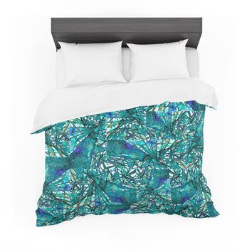 """Ebi Emporium """"New Directions, Peacock Cool"""" Teal Blue Pattern Geometric Mixed Media Painting Featherweight Duvet Cover"""
