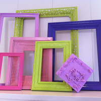Dorm Decor, Frames, Vintage, Princess and the Pea, Apartment Decor, Funky, Colorful Frames