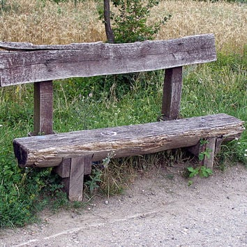 Rustic decor, primitive country decor, old bench, fine art photography, 5x7 (13x18)