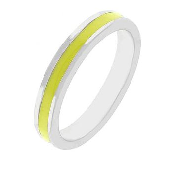 Theresa Yellow Enamel White Gold Rhodium Eternity Band
