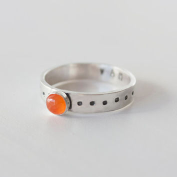 Sacral Chakra Ring, Sterling Silver Carnelian Stacking ring, Mantra ring, Carnelian ring, Sacral chakra, yoga ring, yoga jewelry, zenned out