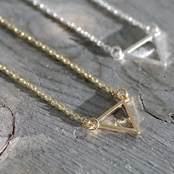 14k gold plated & silver tiny geometric hollow triangle with chain, necklace (NE00030)