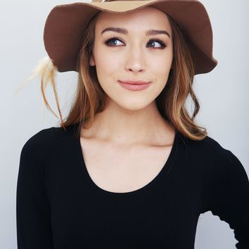 Feather Accent Taupe Fedora Hat