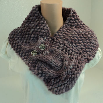 Handcrafted Cowl Wrap Owl Lavender Textured 100% Merino Wool Female Adult -- New No Tags