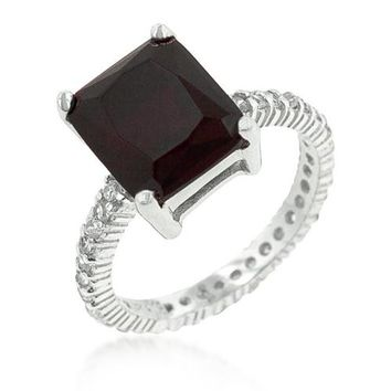 Chrisha 6.1ct Ruby CZ Sterling Silver Ring
