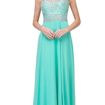 Starbox USA L6135 Sweetheart Neckline Lace Embellished Bodice Mint A-line Chiffon Evening Gown