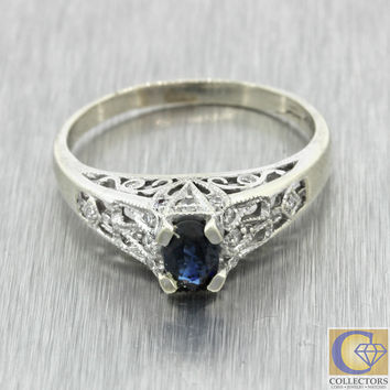 Vintage Estate 14k Solid Gold .50ctw Sapphire Diamond Engagement Filigree Ring