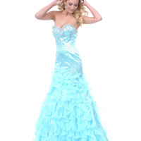 Aqua Belle of the Ball Mermaid Prom Gown 2015 Prom Dresses