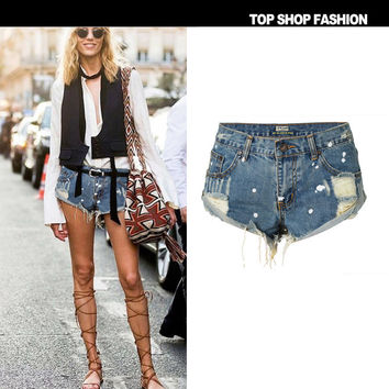 Denim Strong Character Irregular Rinsed Denim Weathered Shorts [7976028481]