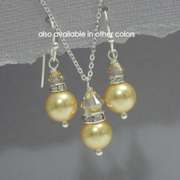 Bridesmaid Gift, Swarovski Gold Pearl and Golden Shadow Crystal Bridesmaid Jewelry Set, Gold Bridesmaid Gift, Maid of Honor Gift