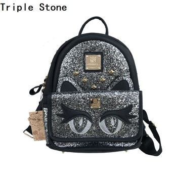 Triple Stone Cartoon Modeling Backpack Sequins glitter Cat Bag Fashion School Bagfor teenage girl Rivet Women Stylish Bagpack