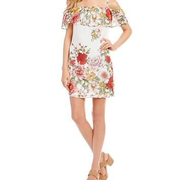 I.N. San Francisco Off-The-Shoulder Floral Border Print Dress | Dillards