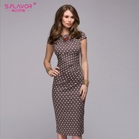 S,FLAVOR 2018 Spring Summer dress Women Dot Print Slim dress Short Sleeve Office Business Dress Elegant Sheath Party Vestidos