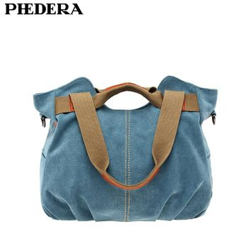 Phedera Hot High Quality Women Canvas Shoulder Bags Casual Female Bag Vintage Women Messenger Bags Blue Leisure Woman Pouch