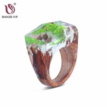 Danze Fashion Women Wooden Resin Rings For Mens Handmade Dried Flower Ring Wedding Jewelry Anillos Mujer Drop Shipping