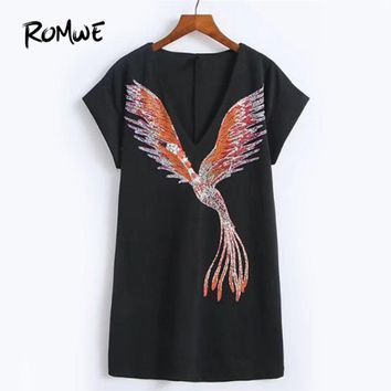 Phoenix Embroidery Plunge Neckline Dress New Arrival Black Deep V Neck Short Dress Short Sleeve Shift Dress