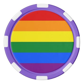 Poker chips with LGBT Rainbow Flag
