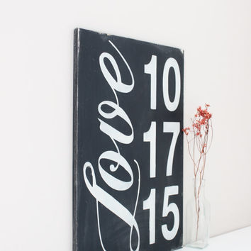 Wedding Date Sign - Custom Wood Date Sign - Anniversary Date - 5th Anniversary Gift - Wedding Gift - Wood Wall Art - Wood Sign