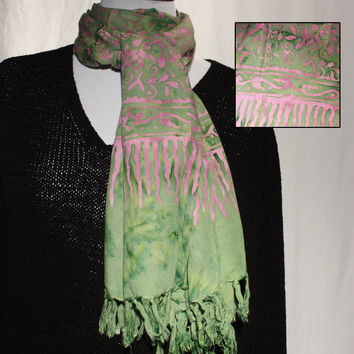 Green & Pink Long Rayon Scarf