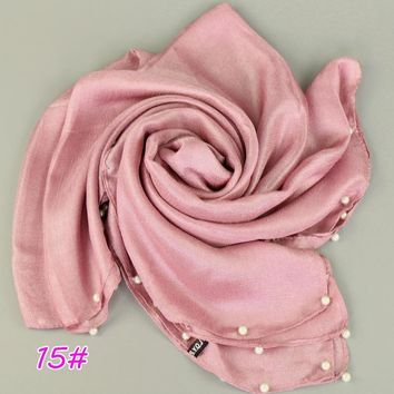 Ladies Fashion Oversized Linen Silk Shawl Plain Solid Beads Pearl Scarf Summer Beach Pashmina Sjaal Muslim Headband Wrap Hijabs