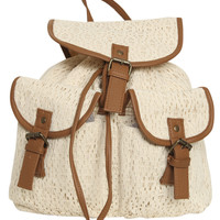 Crochet Leatherette Trim Backpack | Shop Accessories at Wet Seal