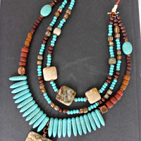 Turquoise stone, jasper stone, copper, indonesian glass and leather necklace.