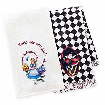 disney parks alice and queen of hearts dish towel set new with tag