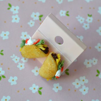 Miniature Taco Post Earrings - Polymer Clay Mini Food Jewelry