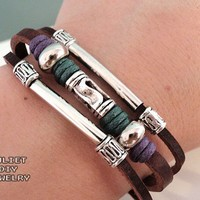 Swirl Bead Leather Zen Bracelet, Adjustable