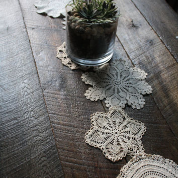 Anthropologie Inspired Vintage Crochet Lace Doily Table Runner