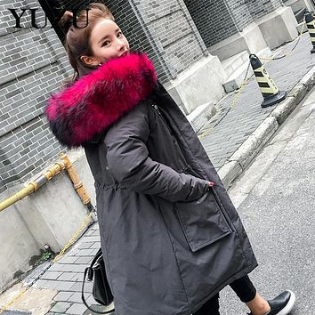 Winter Jacket Women Big Pink Fur Collar Hooded Cotton Liner Long Parka Black Army Green Gray Casual Plus Size Coats Quilt