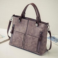 Vintage Double Pocket Casual Tote Bag -5 Color Options-