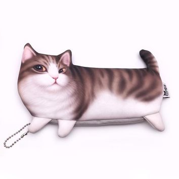 "Adorable Cute ""Coffee"" Kitty Cat Body Makeup Case Travel Organizer Cosmetic Bag"